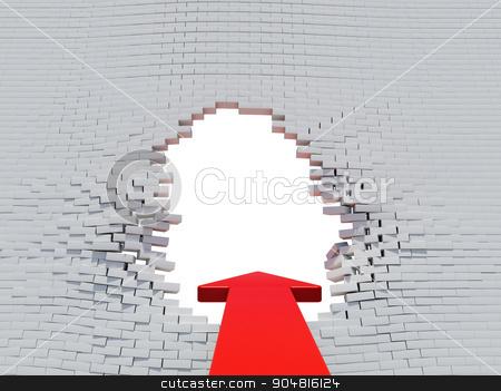 Wall crash red arrow and bricks stock photo, Wall crash arrow with white hole and bricks by cherezoff