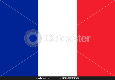 France Flag stock photo, France Flag with the color blue white red. by Henrik Lehnerer