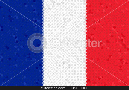 France Flag Mosaic stock photo, France Flag with the color blue white red. by Henrik Lehnerer