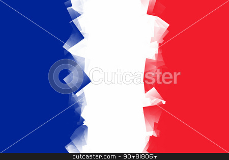 France Flag Cubic stock photo, France Flag with the color blue white red. by Henrik Lehnerer