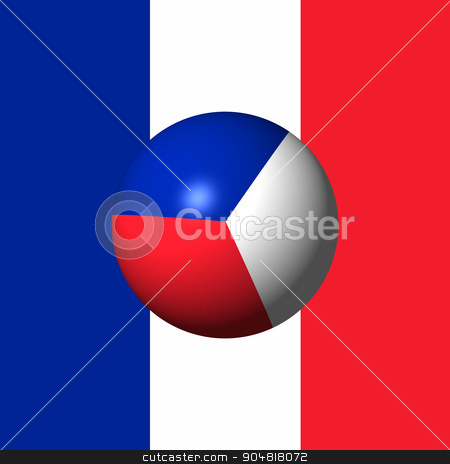 France Flag Sphare stock photo, France Flag with the color blue white red. by Henrik Lehnerer