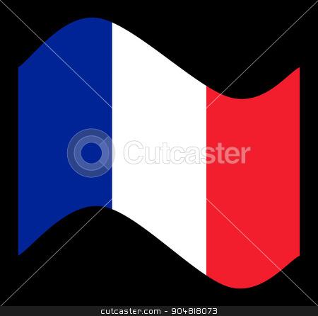 France Flag Wave stock photo, France Flag with the color blue white red. by Henrik Lehnerer