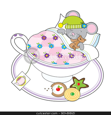 Teacup Mouse stock vector clipart, A little grey mouse and his teddy bear are asleep in a teacup.  by Maria Bell