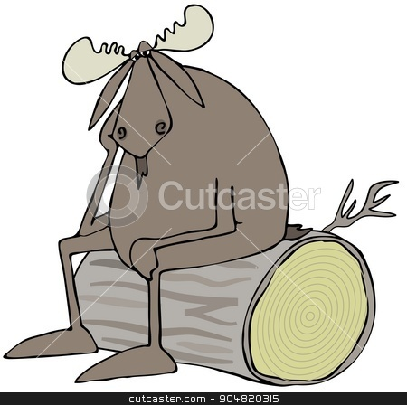 Depressed bull moose stock photo, Illustration depicting a depressed bull moose sitting on a big log. by Dennis Cox