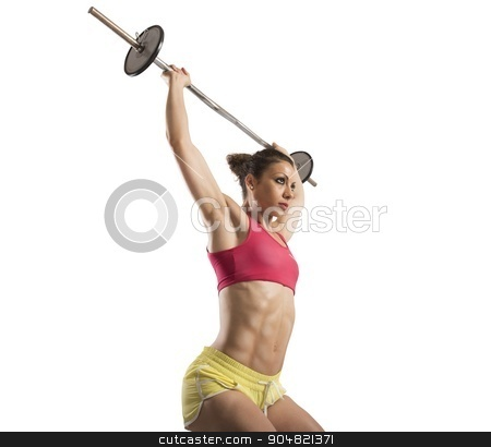 Hard workout with barbell stock photo, Muscular woman doing hard workout with barbell by Federico Caputo