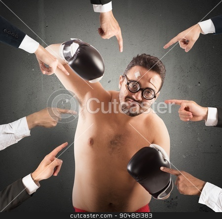 All against a person stock photo, Angry people point and blame a boxer by Federico Caputo