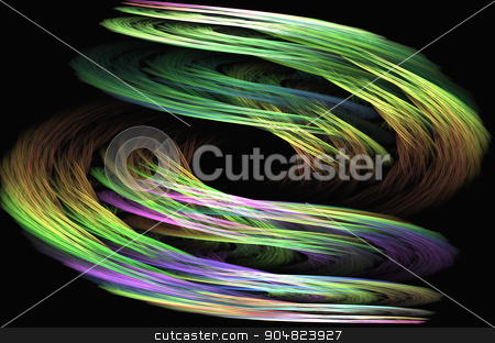 Abstract image : fractal vortex. stock photo, Fractal image on a black background are rendered colored line in the of a whirlwind. by Georgina198