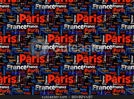 Paris France Terror stock photo, Wordcloud with the words Paris France Terror on black background. by Henrik Lehnerer