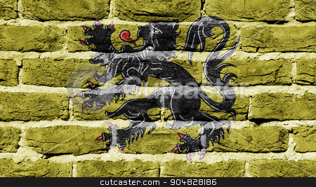 Brick wall texture stock photo, Very old dark red brick wall texture, flag of Flanders by michaklootwijk