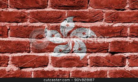 Brick wall texture stock photo, Very old dark red brick wall texture, flag of Hong Kong by michaklootwijk