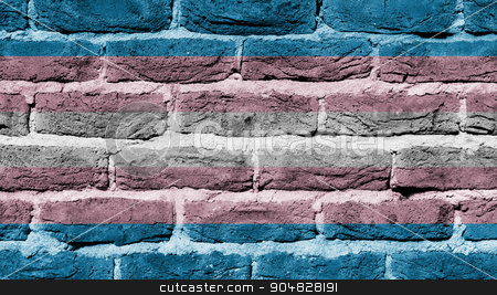 Brick wall texture stock photo, Very old dark red brick wall texture, flag of Trans Pride by michaklootwijk
