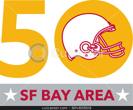 50 Pro Football Championship SF Bay Area stock vector clipart, Illustration showing number 50 with American football helmet with words SF Bay Area or San Francisco Bay area for the pro football championship. by patrimonio