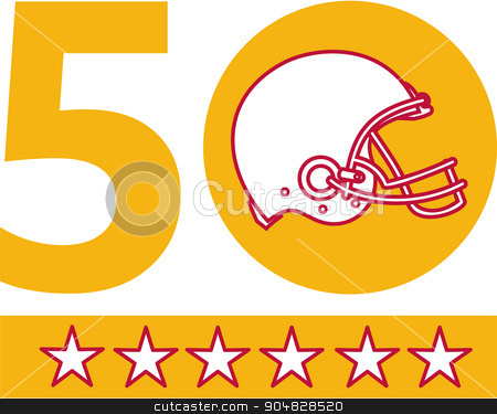 50 Pro Football Championship Sunday Helmet stock vector clipart, Illustration showing number 50 with American football helmet side view with five stars for the SF Bay Area or San Francisco Bay area pro football championship set on isolated white background.  by patrimonio