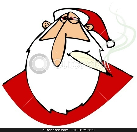 Stoned Santa with red eyes stock photo, Illustration depicting a stoned Santa Claus smoking a joint. by Dennis Cox