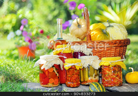 autumn harvesting stock photo, homemade autumn harvesting banks pickled vegetables in spices. by Jon88