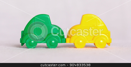 Toy cars isolated stock photo, Toy cars in a row isolated on white background, accident by michaklootwijk
