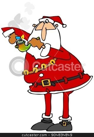 Santa lighting a marijuana pipe stock photo, Illustration depicting Santa Claus lighting a glass marijuana pipe. by Dennis Cox