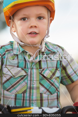Close up of Boy in Helmet stock photo, Close up of cute boy in bicycle helmet by Scott Griessel