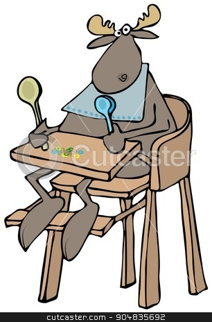 Baby moose in a highchair stock photo, Illustration depicting a baby moose sitting in a highchair and holding two colored spoons. by Dennis Cox