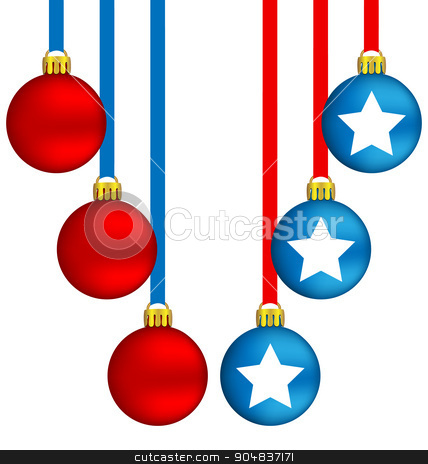 Christmas balls in US colors stock photo, Six Christmas balls in US national colors by Makkuro_GL