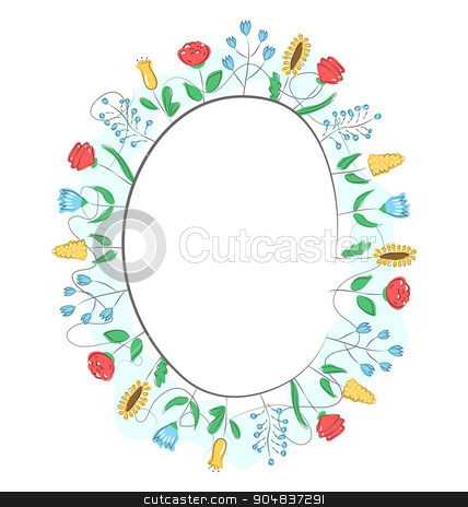 Spring frame with field flowers isolated on white  stock photo, Spring frame with field flowers isolated on white background by Makkuro_GL