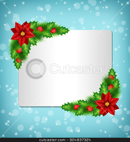 frame with poinsettia, holly and pine on blue  stock photo, Blank frame with flower of poinsettia, holly sprigs and pine branches in snowfall on blue background by Makkuro_GL