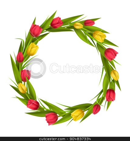 Circle frame with tulips red and yellow flowers isolated on whit stock photo, Circle frame with tulips red and yellow flowers isolated on white background by Makkuro_GL
