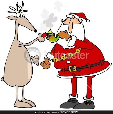 Reindeer lighting Santa's pot pipe stock photo, Illustration depicting a reindeer lighting Santa's marijuana pipe. by Dennis Cox