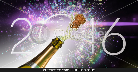 Composite image of champagne popping stock photo, Champagne popping against new year countdown graphic by Wavebreak Media