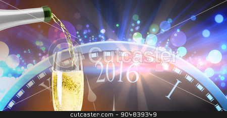 Composite image of champagne pouring stock photo, Champagne pouring against new year countdown graphic by Wavebreak Media