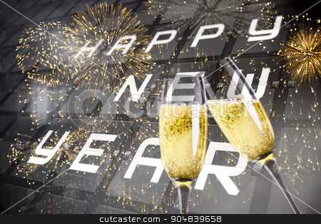 Composite image of champagne glasses clinking stock photo, Champagne glasses clinking against new year message on black roller board by Wavebreak Media