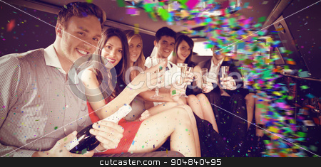 Composite image of colour curve stock photo, Colour curve against happy friends drinking champagne in limousine by Wavebreak Media