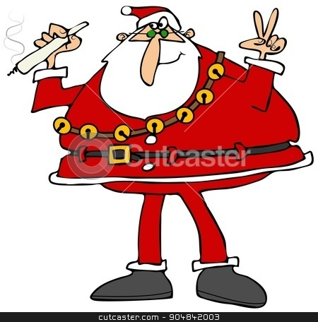Peaceful Santa Claus stock photo, Illustration depicting Santa Claus holding a marijuana joint and flashing the peace sign. by Dennis Cox