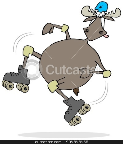 Moose on skates stock photo, Illustration depicting a bull moose falling while on roller skates. by Dennis Cox