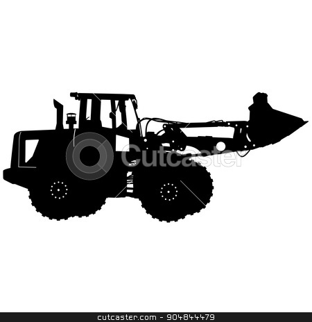 Silhouette of a heavy loaders with  ladle. Vector illustration stock vector clipart, Silhouette of a heavy loaders with ladle. Vector illustration. by aarrows