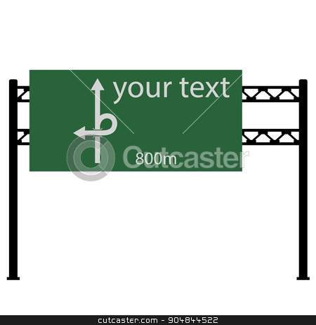 Blank road sign on the road.  Vector illustration. stock vector clipart, Blank road sign on the road.  Vector illustration. by aarrows