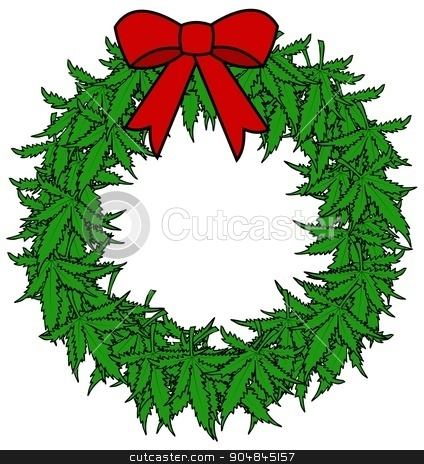 Marijuana Wreath stock photo, Illustration depicting a Christmas wreath made of marijuana leaves decorated with a red bow. by Dennis Cox