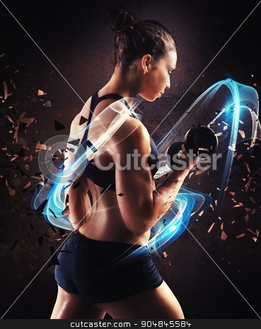 Powerful woman stock photo, Woman workout surrounded by a blue trail by Federico Caputo