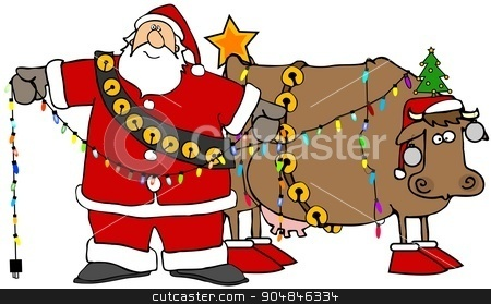 Santa decorating his Christmas cow stock photo, Illustration depicting Santa Claus putting Christmas lights and ornaments on his cow. by Dennis Cox