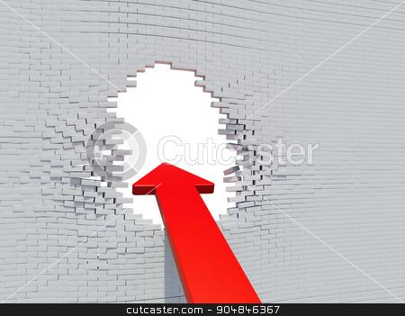 Wall crash arrow with white hole stock photo, Wall crash arrow with white hole and bricks by cherezoff