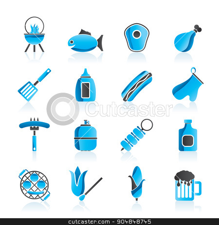 Grilling and barbecue icons stock vector clipart, Grilling and barbecue icons - vector icon set by Stoyan Haytov