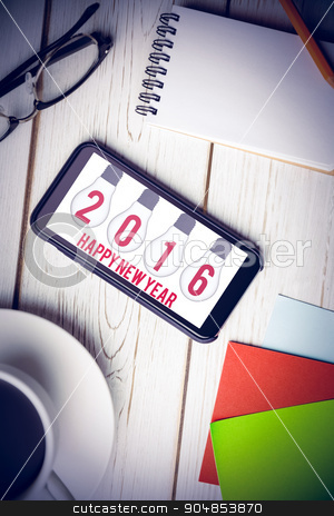 Composite image of happy new year stock photo, Happy New Year against overhead view of an desk by Wavebreak Media