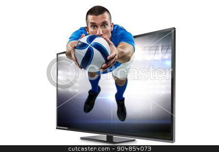 Composite image of portrait full length of american football pla stock photo, Portrait full length of American football player diving against american football arena by Wavebreak Media