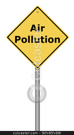 Warning Sign Air Pollution stock photo, Yellow warning sign with the writing Air Pollution on whiate background. by Henrik Lehnerer