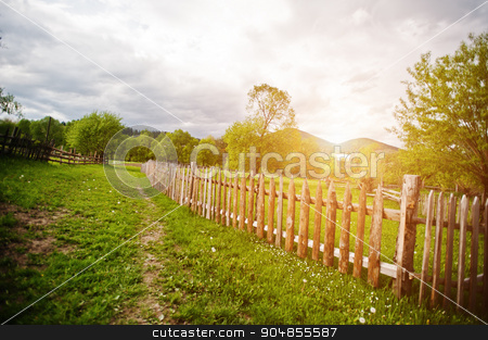 Wooden fence on sunny meadow stock photo, Wooden fence on sunny meadow by Andrii Shevchuk