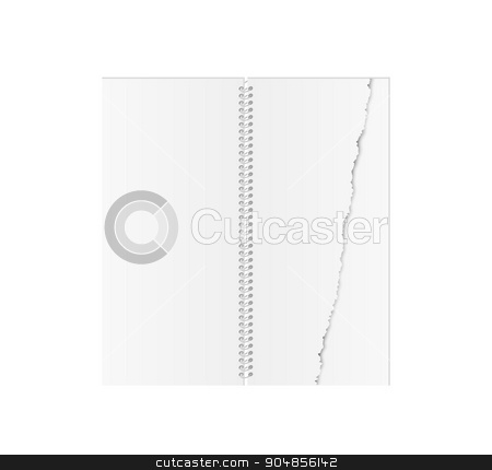 white blank spiral paper book with torn paper stock vector clipart, white blank spiral paper book with torn paper on white background, isolated by muuraa