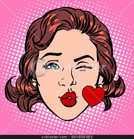 Retro Emoji love kiss heart woman face stock vector