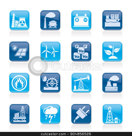 Electricity and Energy source icons  stock vector clipart, Electricity and Energy source icons - vector icon set by Stoyan Haytov