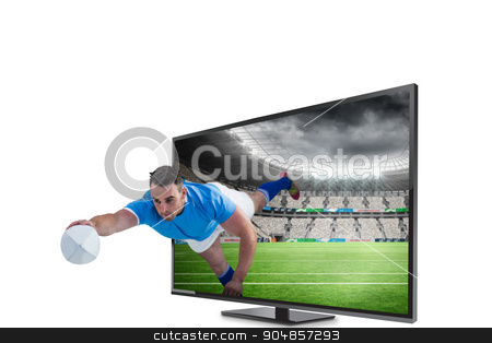 Composite image of rugby player scoring a try stock photo, Rugby player scoring a try against rugby stadium by Wavebreak Media