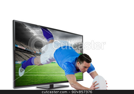 Composite image of a rugby player scoring a try stock photo, A rugby player scoring a try against rugby stadium by Wavebreak Media